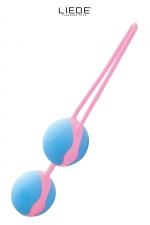 Love balls bleu et rose - Liebe : Boules de geisha 100% silicone Premium, pour muscler les muscles vaginaux tout en se faisant plaisir en toute discrétion.