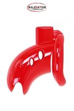 Cage de chasteté ABS rouge - Malesation : Cage de chasteté rouge de haute qualité en ABS, à la fois rigide et légère, longueur totale 7,5 cm.