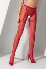 Collants ouverts S012 - Rouge : Collants ouverts en résille rouge avec un motif élégant de culotte et jarretelles.