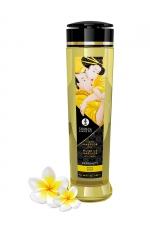 Huile de massage parfum monoï - Shunga : Huile de massage érotique Serenity au monoï pour éveiller les sens et la réceptivité amoureuse, par Shunga.