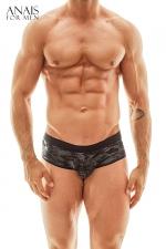Jock Bikini Electro - Anaïs for Men : Superbe lingerie pour homme façon shorty à l'avant et jockstrap à l'arrière, fabriqué en Europe.