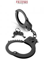 Menottes métal Designer Cuffs - noir  : Solide paire de menottes pour poignets en métal noir, pour vos jeux de domination, par Pipedream / Fetish Fantasy Series.