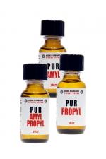 Pack Pur JOLT 3 poppers : Pack JOLT PUR contenant : 1 poppers PUR Amyl 25ml + 1 poppers PUR Propyl 25ml + 1 poppers Amyl & Propyl 25 ml.