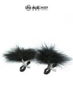 Pinces à tétons plume - S&M : Pinces à seins réglables avec des plumes noires décoratives, par Sex & Mischief.