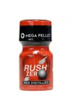 Poppers Rush Zero Red Distilled 10 ml : Poppers petit format, hybride et ultra puissant avec effet immédiat, à base d'Amyle et Propyle, flacon Méga Pellet et bouchon sécurisé.